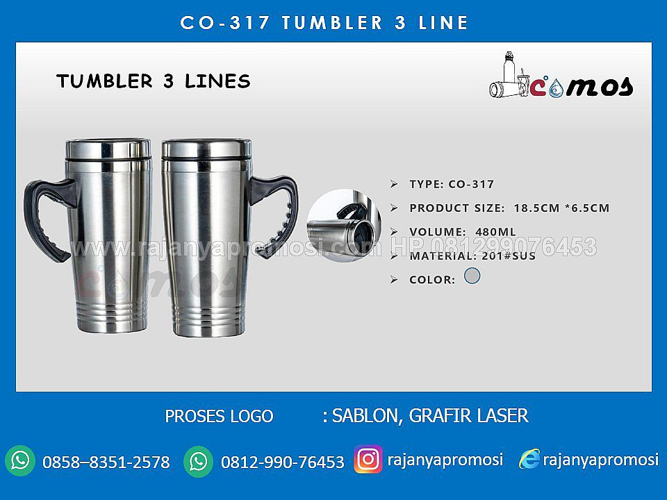 TUMBLER STAINLESS 3 LINE  CO - 317